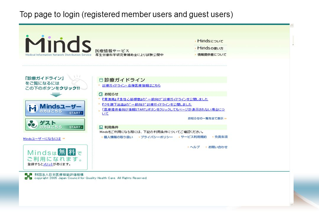 Top page to login (registered member users and guest users)