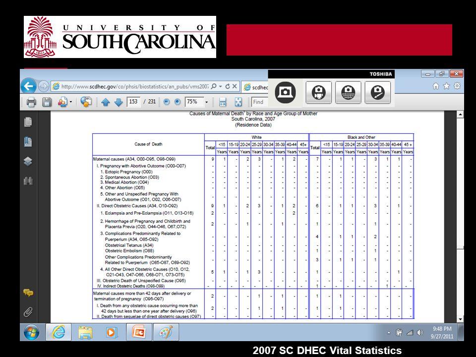 2007 SC DHEC Vital Statistics