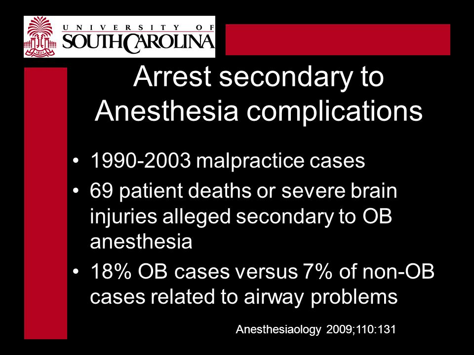 Arrest secondary to Anesthesia complications 1990-2003 malpractice cases 69 patient deaths or severe brain injuries alleged secondary to OB anesthesia