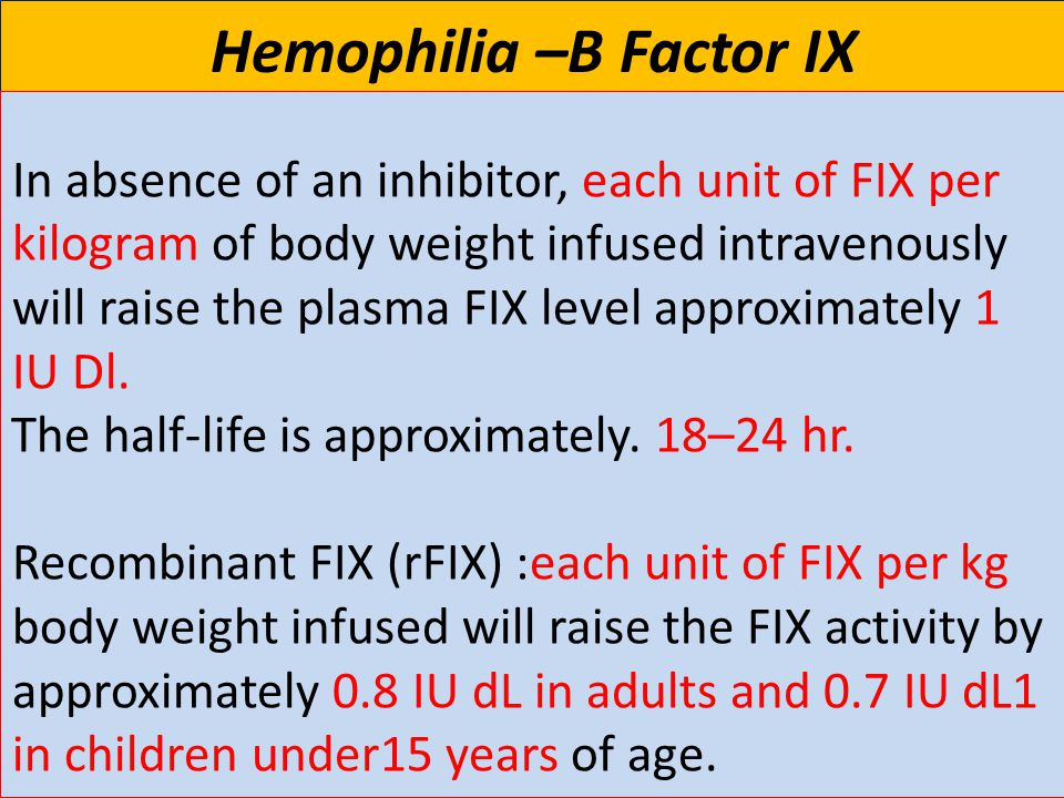 27 Hemophilia –B Factor IX In absence of an inhibitor, each unit of FIX per kilogram of body weight infused intravenously will raise the plasma FIX level approximately 1 IU Dl.