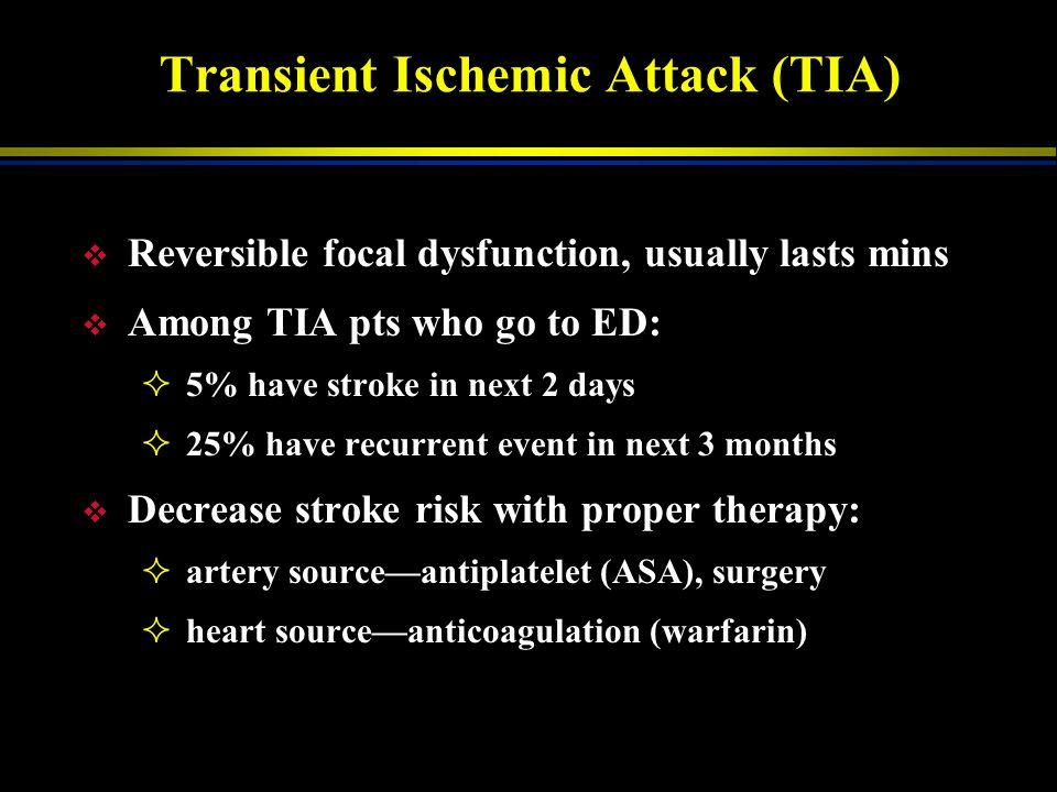 Subarachnoid Hemorrhage Bleeding around brain Most common cause: aneurysm rupture Other causes: v Vessel malformation v Tumor, bleeding abnormalities