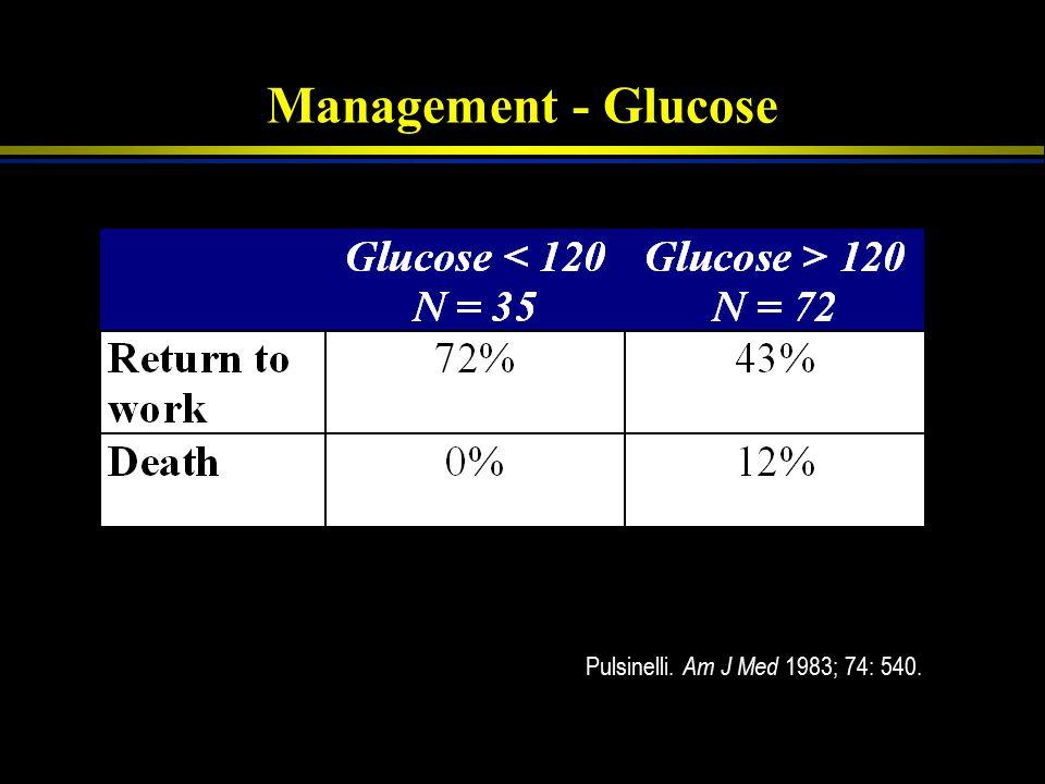 Management - Glucose Neurologic Effects of Lo glucose vs. Very Hi glucose on Infarcted Brain (Rabbit Model) Thoralf. Stroke 1999; 30: 160-170.