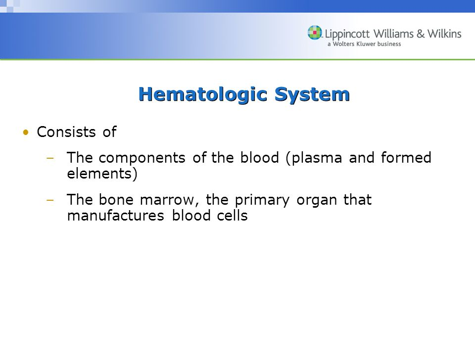 Hematologic System Consists of –The components of the blood (plasma and formed elements) –The bone marrow, the primary organ that manufactures blood cells