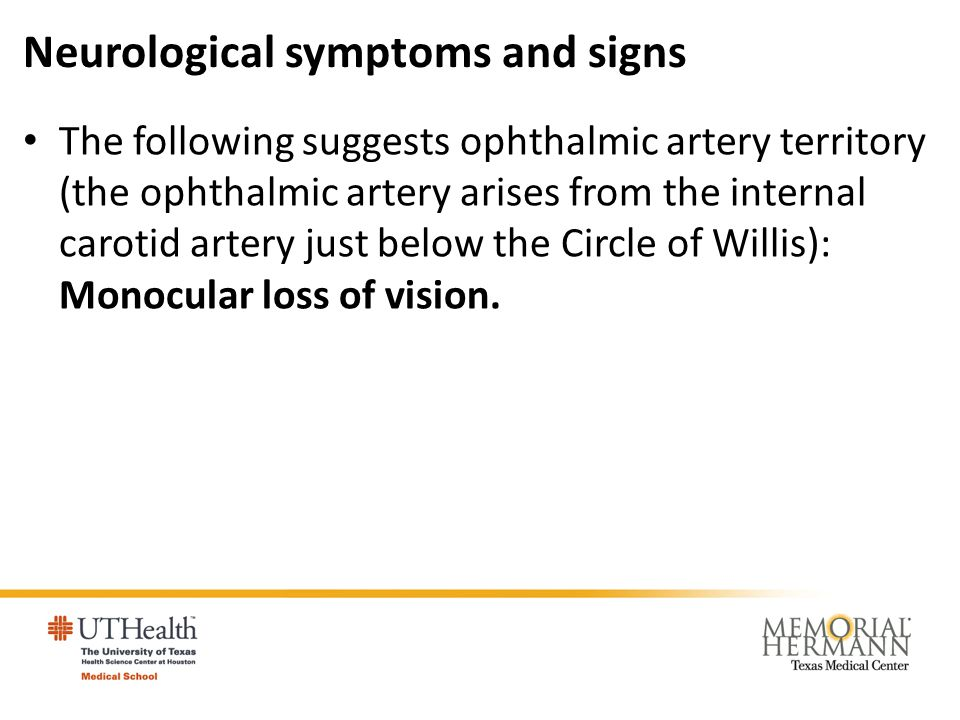 Neurological symptoms and signs The following suggests ophthalmic artery territory (the ophthalmic artery arises from the internal carotid artery just