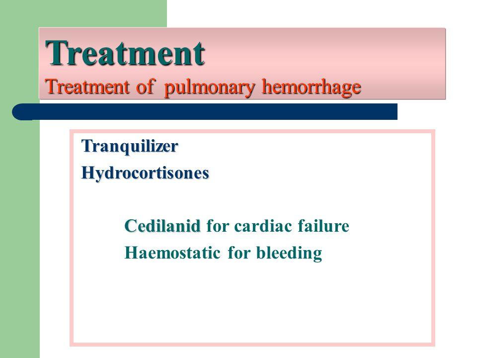 Treatment Treatment of pulmonary hemorrhage Tranquilizer Tranquilizer Hydrocortisones Hydrocortisones Cedilanid Cedilanid for cardiac failure Haemosta