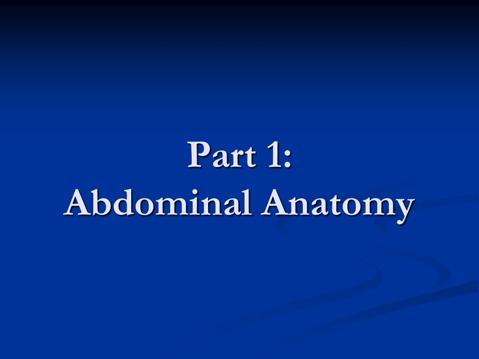 Part 1: Abdominal Anatomy