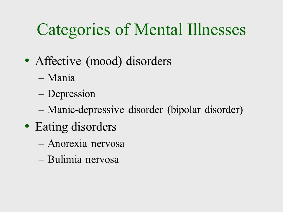 Categories of Mental Illnesses Affective (mood) disorders –Mania –Depression –Manic-depressive disorder (bipolar disorder) Eating disorders –Anorexia