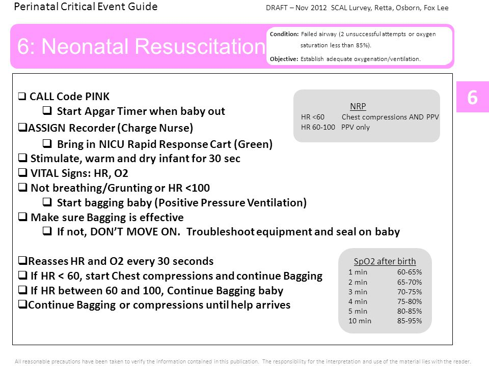 Perinatal Critical Event Guide DRAFT – Nov 2012 SCAL Lurvey, Retta, Osborn, Fox Lee All reasonable precautions have been taken to verify the information contained in this publication.