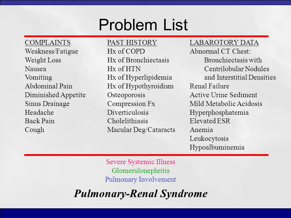 Problem List Severe Systemic Illness Glomerulonephritis Pulmonary Involvement Pulmonary-Renal Syndrome LABAROTORY DATA Abnormal CT Chest: Bronchiectas