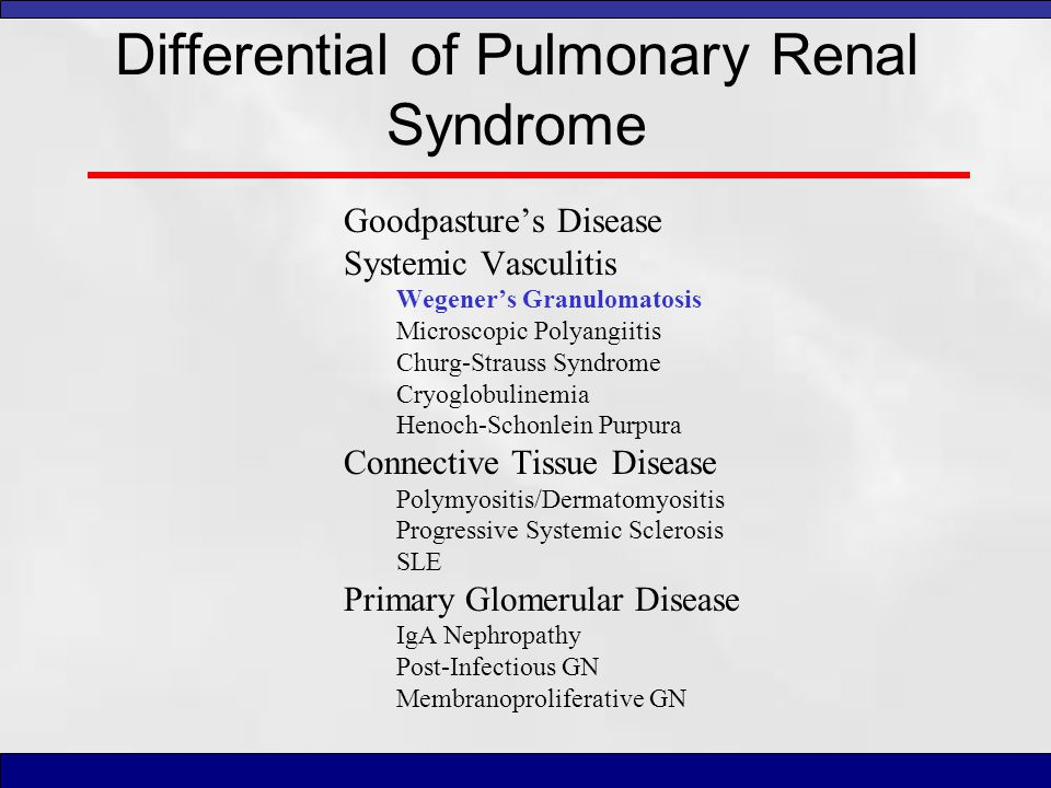 Differential of Pulmonary Renal Syndrome Goodpasture's Disease Systemic Vasculitis Wegener's Granulomatosis Microscopic Polyangiitis Churg-Strauss Syn