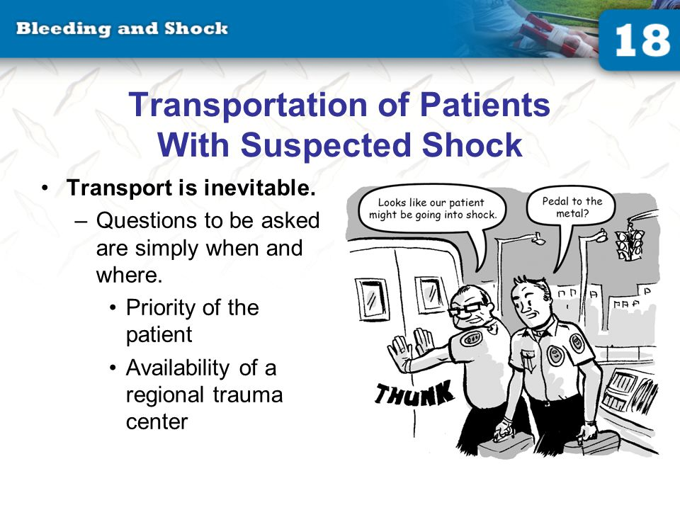Transportation of Patients With Suspected Shock Transport is inevitable.