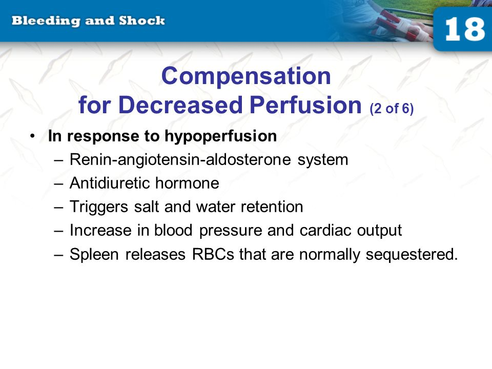 Compensation for Decreased Perfusion (2 of 6) In response to hypoperfusion –Renin-angiotensin-aldosterone system –Antidiuretic hormone –Triggers salt and water retention –Increase in blood pressure and cardiac output –Spleen releases RBCs that are normally sequestered.