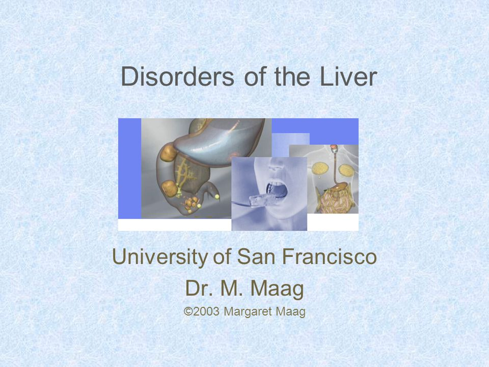 Disorders of the Liver University of San Francisco Dr. M. Maag ©2003 Margaret Maag