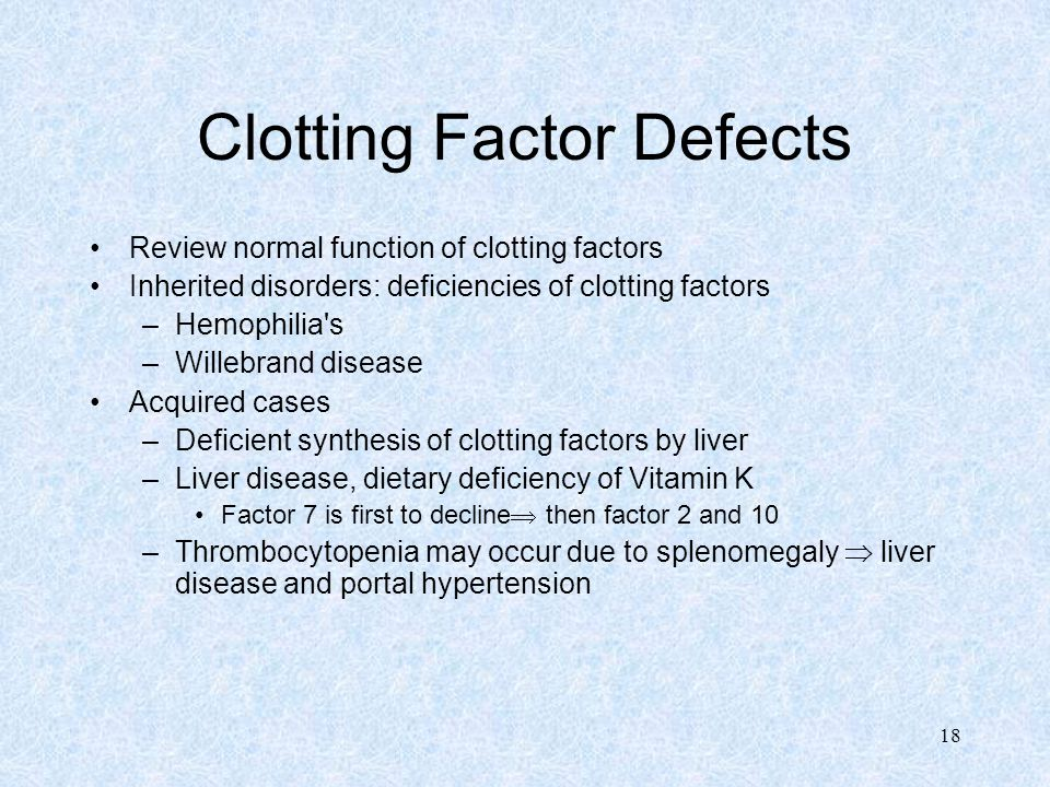 18 Clotting Factor Defects Review normal function of clotting factors Inherited disorders: deficiencies of clotting factors –Hemophilia s –Willebrand disease Acquired cases –Deficient synthesis of clotting factors by liver –Liver disease, dietary deficiency of Vitamin K Factor 7 is first to decline  then factor 2 and 10 –Thrombocytopenia may occur due to splenomegaly  liver disease and portal hypertension