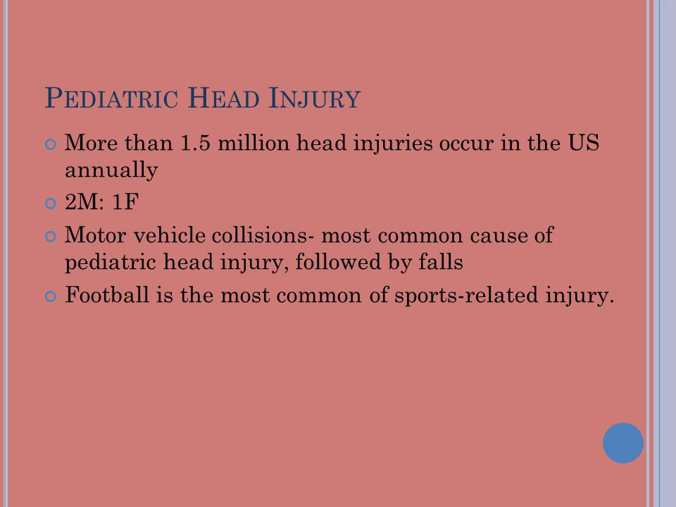 P EDIATRIC H EAD I NJURY More than 1.5 million head injuries occur in the US annually 2M: 1F Motor vehicle collisions- most common cause of pediatric