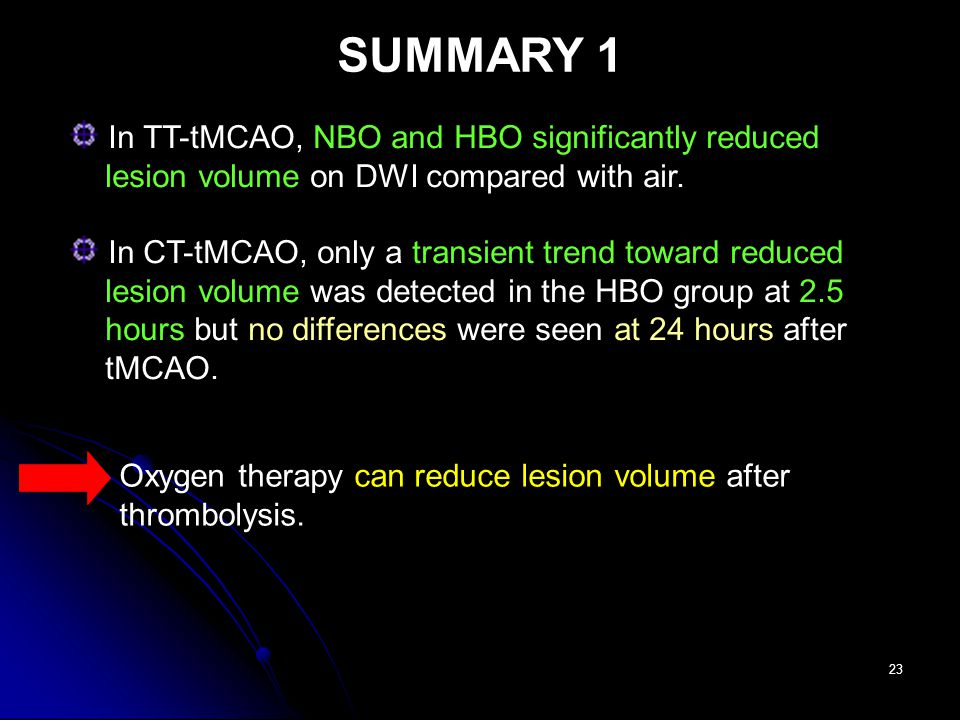 23 In TT-tMCAO, NBO and HBO significantly reduced lesion volume on DWI compared with air.