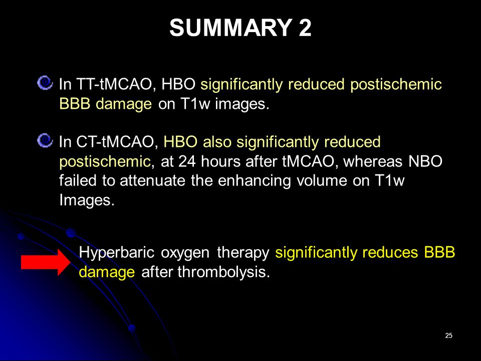 25 In TT-tMCAO, HBO significantly reduced postischemic BBB damage on T1w images.