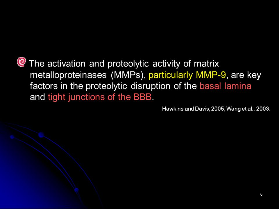 6 The activation and proteolytic activity of matrix metalloproteinases (MMPs), particularly MMP-9, are key factors in the proteolytic disruption of the basal lamina and tight junctions of the BBB.