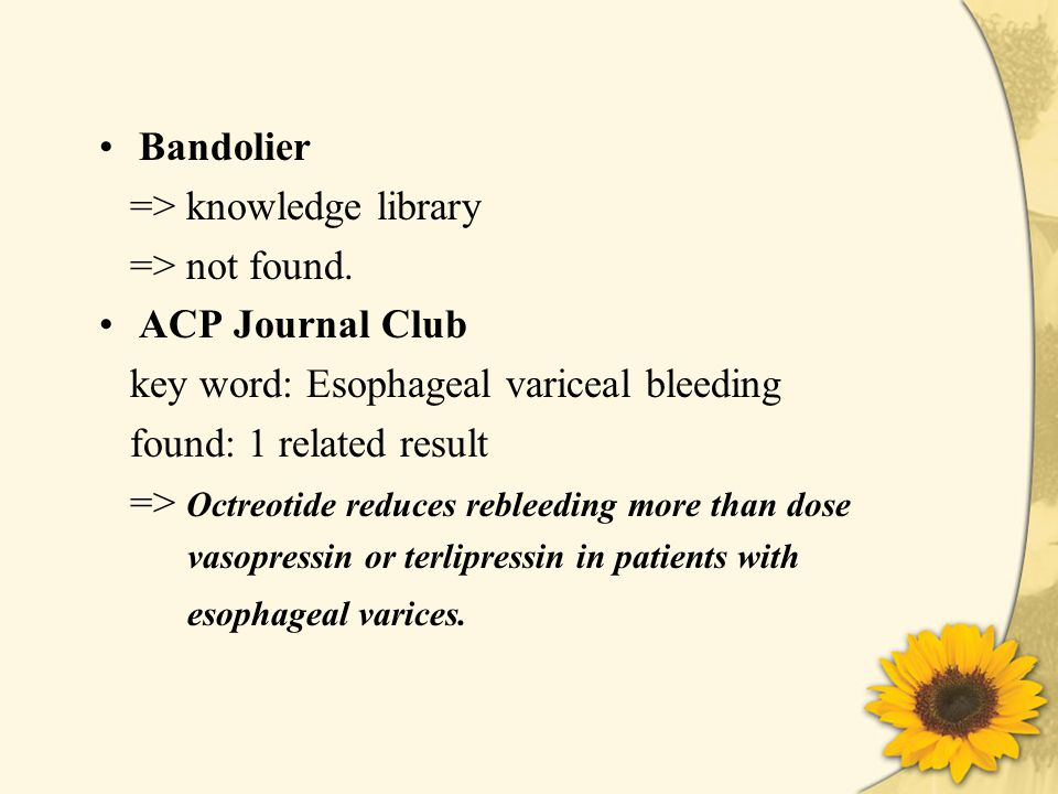 Bandolier => knowledge library => not found.