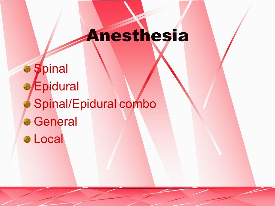 Anesthesia Spinal Epidural Spinal/Epidural combo General Local