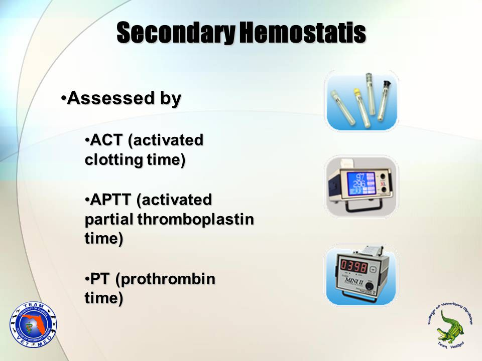 Secondary Hemostatis Assessed byAssessed by ACT (activated clotting time)ACT (activated clotting time) APTT (activated partial thromboplastin time)APTT (activated partial thromboplastin time) PT (prothrombin time)PT (prothrombin time)