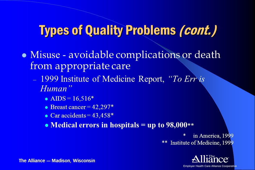 The Alliance — Madison, Wisconsin Types of Quality Problems (cont.) Misuse - avoidable complications or death from appropriate care – 1999 Institute o