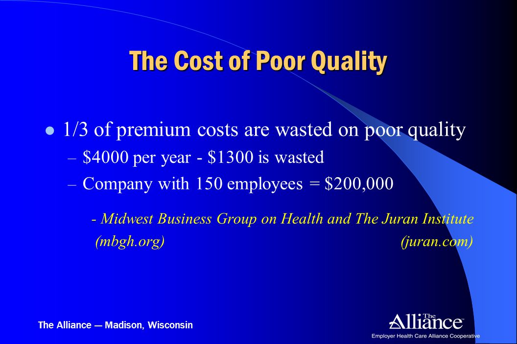 The Alliance — Madison, Wisconsin The Cost of Poor Quality 1/3 of premium costs are wasted on poor quality – $4000 per year - $1300 is wasted – Compan