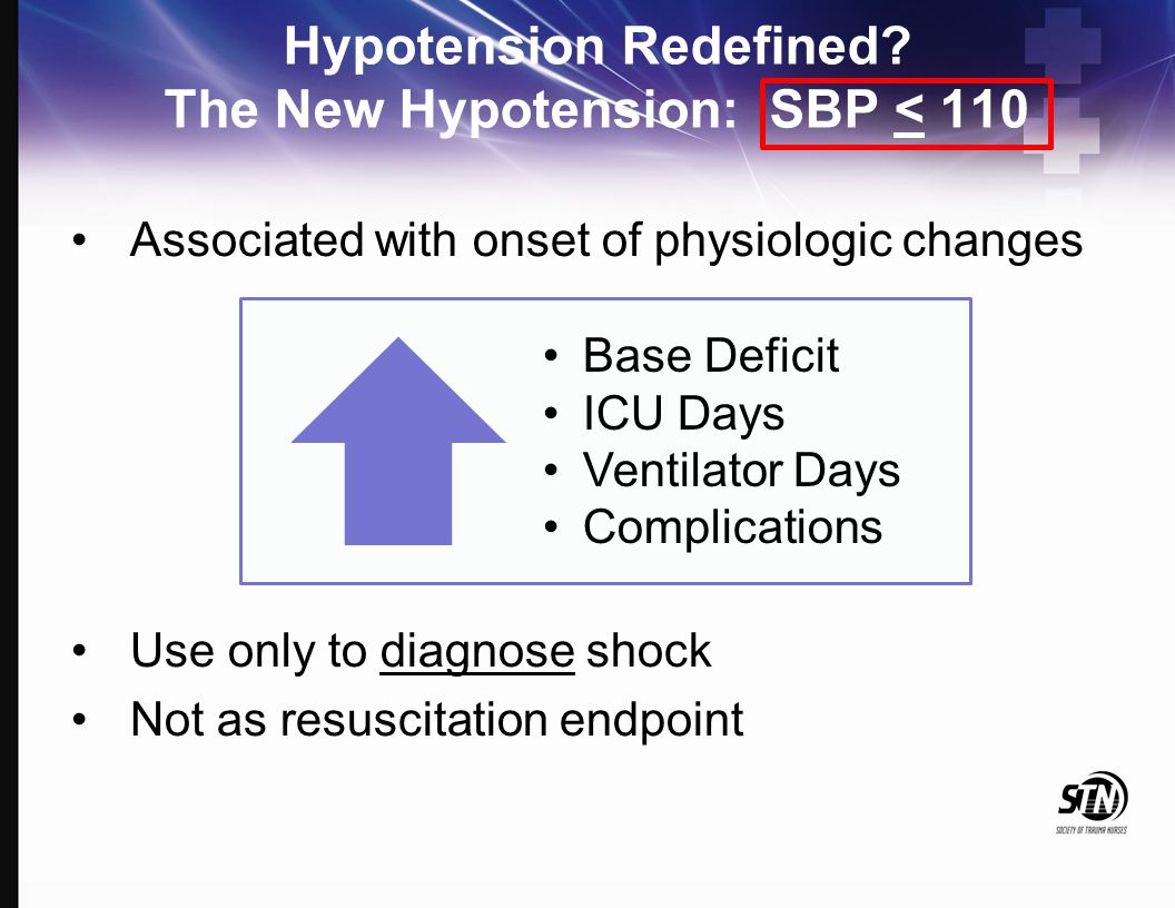 Hypotension Redefined? The New Hypotension: SBP < 110 Associated with onset of physiologic changes Use only to diagnose shock Not as resuscitation end