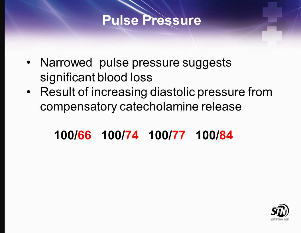 Pulse Pressure Narrowed pulse pressure suggests significant blood loss Result of increasing diastolic pressure from compensatory catecholamine release