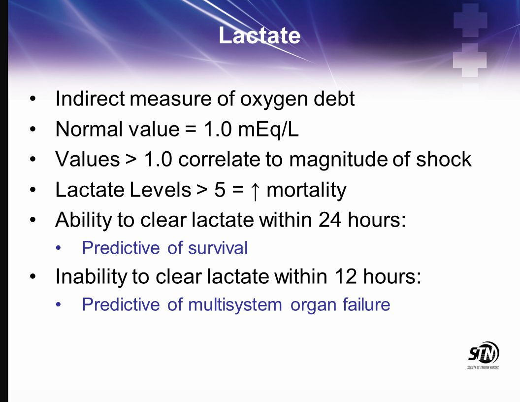 Lactate Indirect measure of oxygen debt Normal value = 1.0 mEq/L Values > 1.0 correlate to magnitude of shock Lactate Levels > 5 = ↑ mortality Ability