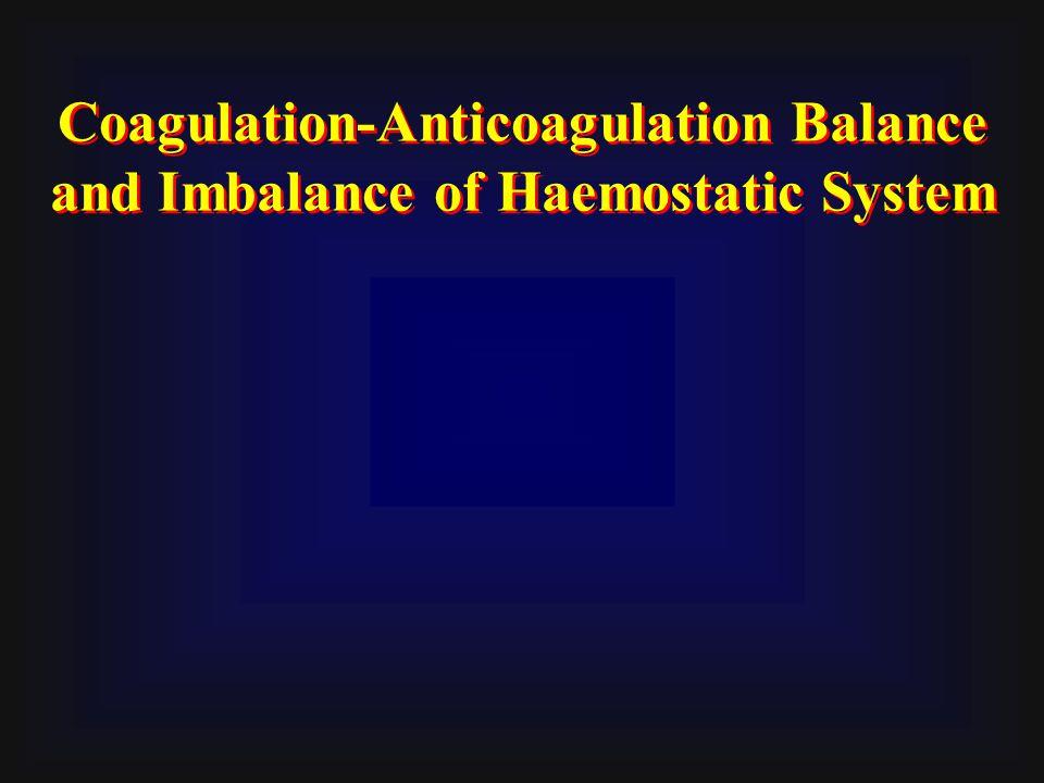 Coagulation-Anticoagulation Balance and Imbalance of Haemostatic System