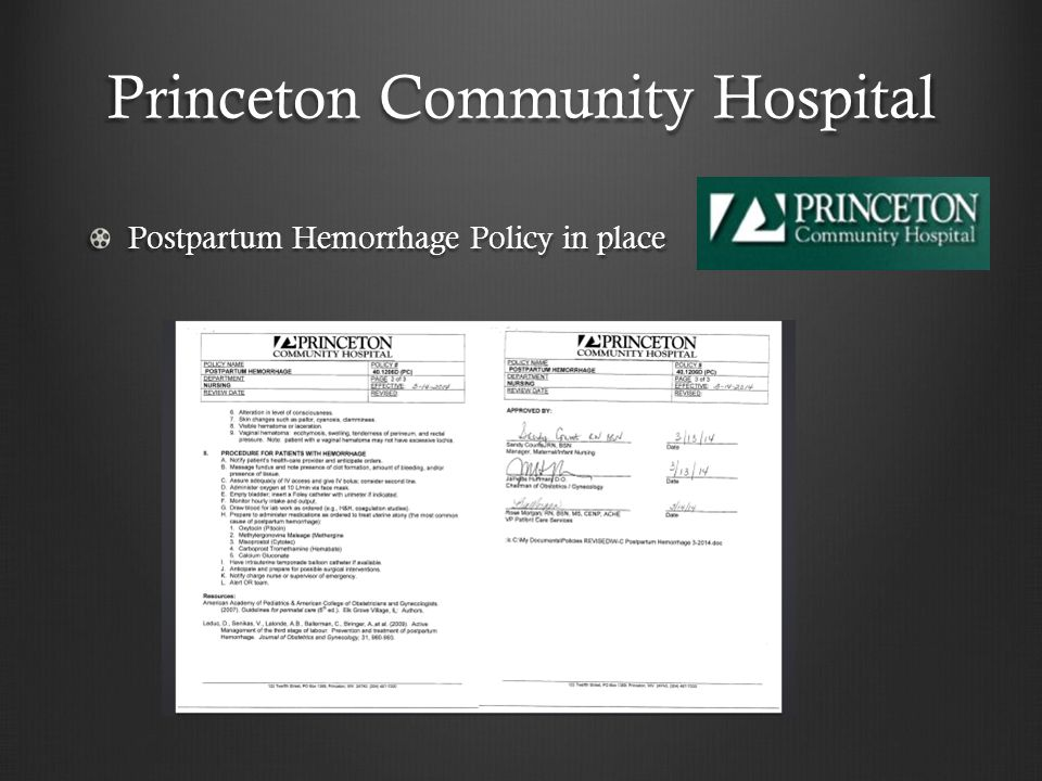 Princeton Community Hospital Postpartum Hemorrhage Policy in place