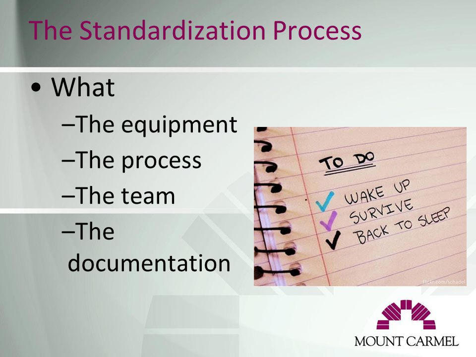 The Standardization Process What –The equipment –The process –The team –The documentation