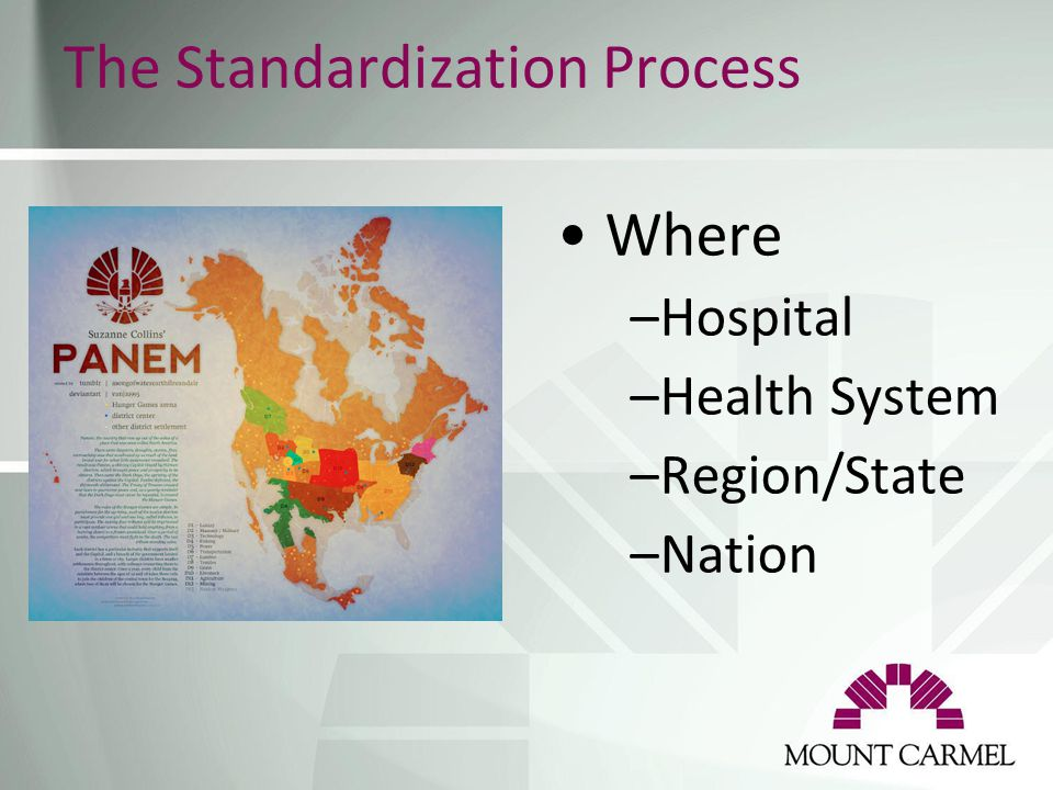 The Standardization Process Where –Hospital –Health System –Region/State –Nation
