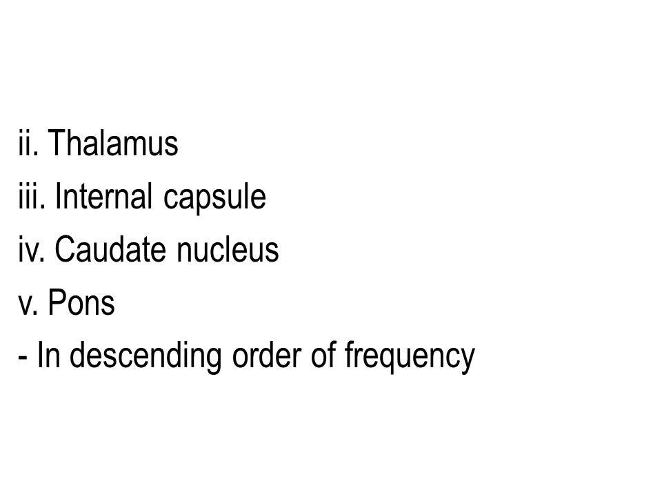 ii. Thalamus iii. Internal capsule iv. Caudate nucleus v. Pons - In descending order of frequency