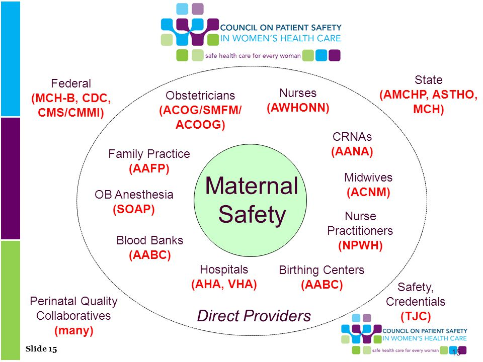Slide 15 Maternal Safety Obstetricians (ACOG/SMFM/ ACOOG) Nurses (AWHONN) Family Practice (AAFP) Midwives (ACNM) Hospitals (AHA, VHA) OB Anesthesia (SOAP) Birthing Centers (AABC) Safety, Credentials (TJC) Blood Banks (AABC) Perinatal Quality Collaboratives (many) Federal (MCH-B, CDC, CMS/CMMI) State (AMCHP, ASTHO, MCH) Direct Providers Nurse Practitioners (NPWH) 15 CRNAs (AANA)