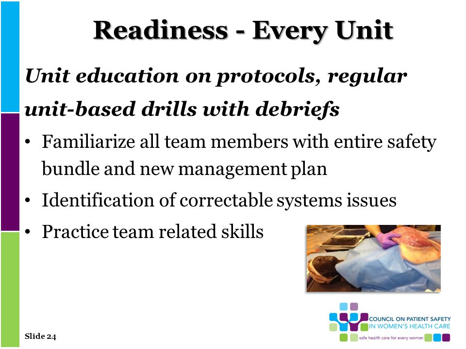 Slide 24 Readiness - Every Unit Unit education on protocols, regular unit-based drills with debriefs Familiarize all team members with entire safety bundle and new management plan Identification of correctable systems issues Practice team related skills