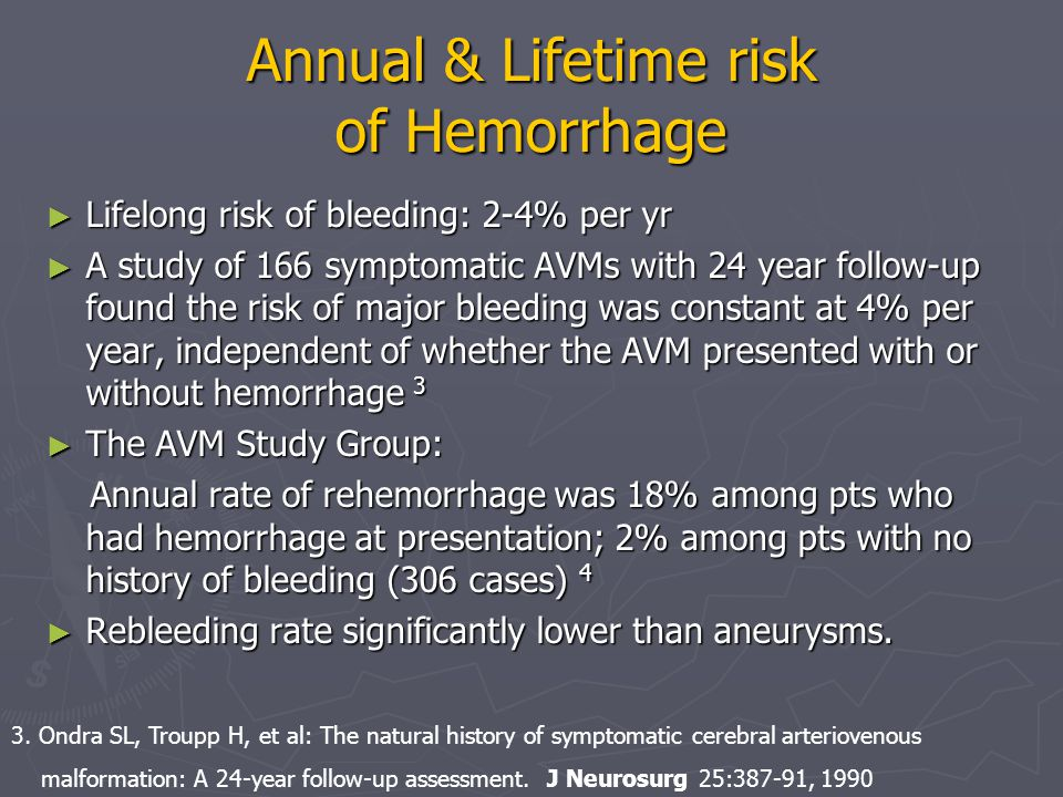 Annual & Lifetime risk of Hemorrhage ► Lifelong risk of bleeding: 2-4% per yr ► A study of 166 symptomatic AVMs with 24 year follow-up found the risk