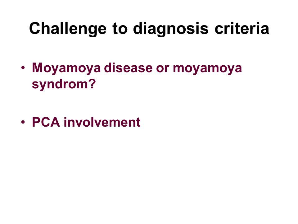 Challenge to diagnosis criteria Moyamoya disease or moyamoya syndrom PCA involvement