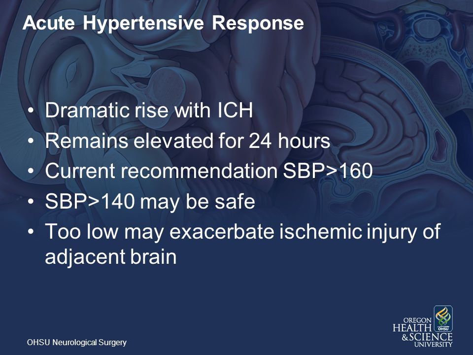 Acute Hypertensive Response Dramatic rise with ICH Remains elevated for 24 hours Current recommendation SBP>160 SBP>140 may be safe Too low may exacerbate ischemic injury of adjacent brain OHSU Neurological Surgery