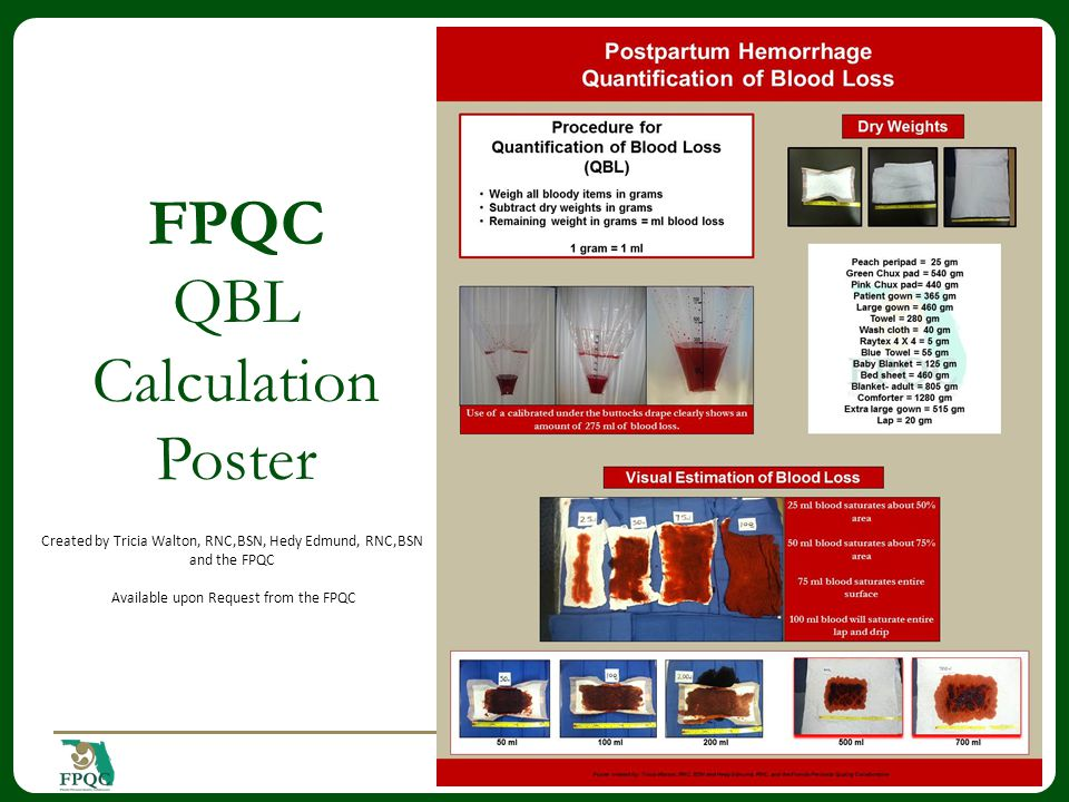FPQC QBL Calculation Poster 13 Created by Tricia Walton, RNC,BSN, Hedy Edmund, RNC,BSN and the FPQC Available upon Request from the FPQC