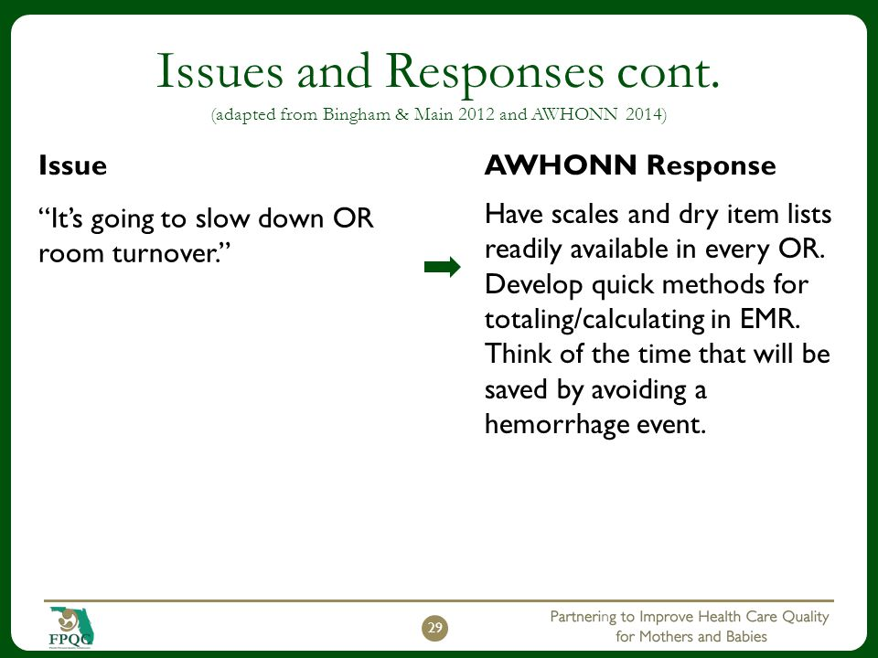 "Issues and Responses cont. (adapted from Bingham & Main 2012 and AWHONN 2014) Issue ""It's going to slow down OR room turnover."" AWHONN Response Have s"
