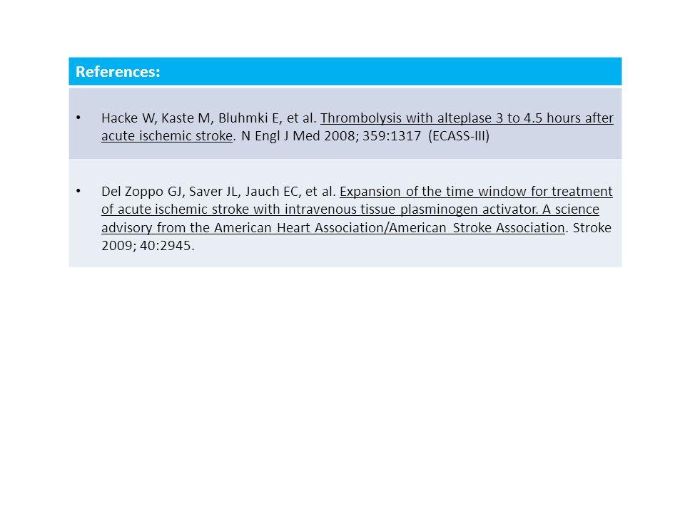 References: Hacke W, Kaste M, Bluhmki E, et al.