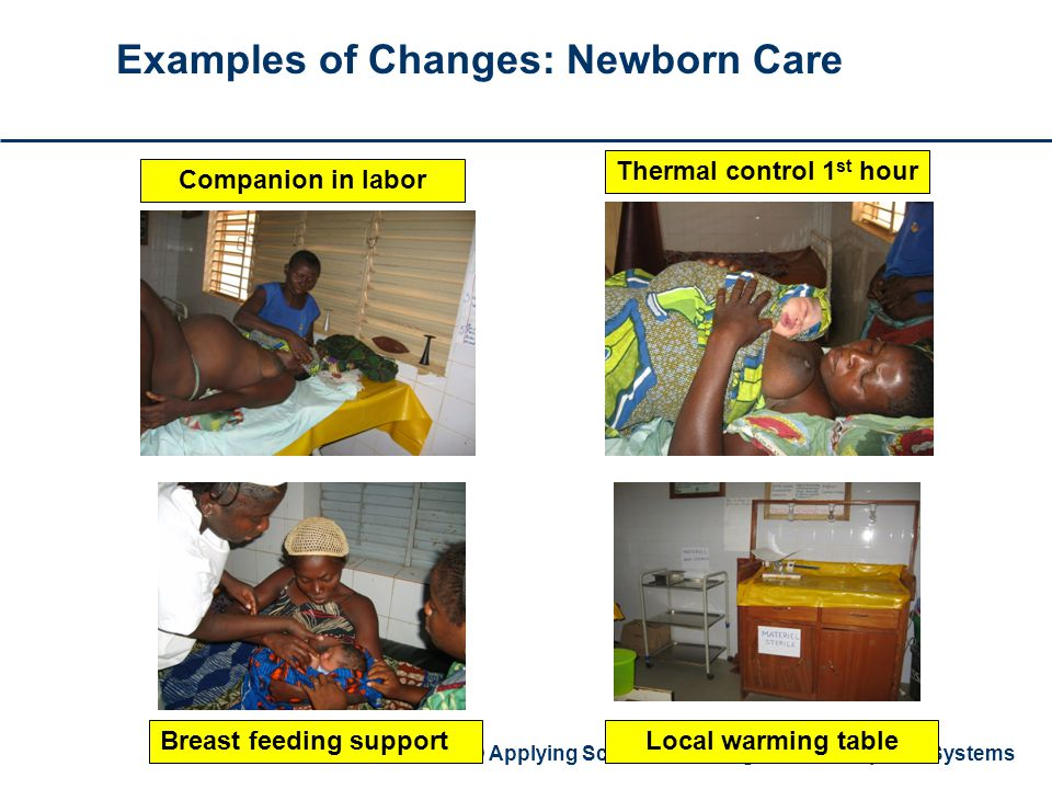 USAID Applying Science to Strengthen and Improve Systems Examples of Changes: Newborn Care Companion in labor Thermal control 1 st hour Breast feeding supportLocal warming table