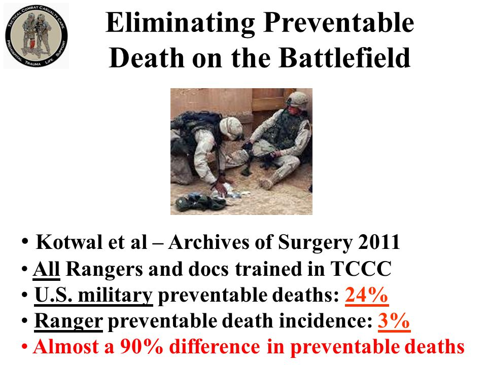 Eliminating Preventable Death on the Battlefield Kotwal et al – Archives of Surgery 2011 All Rangers and docs trained in TCCC U.S.
