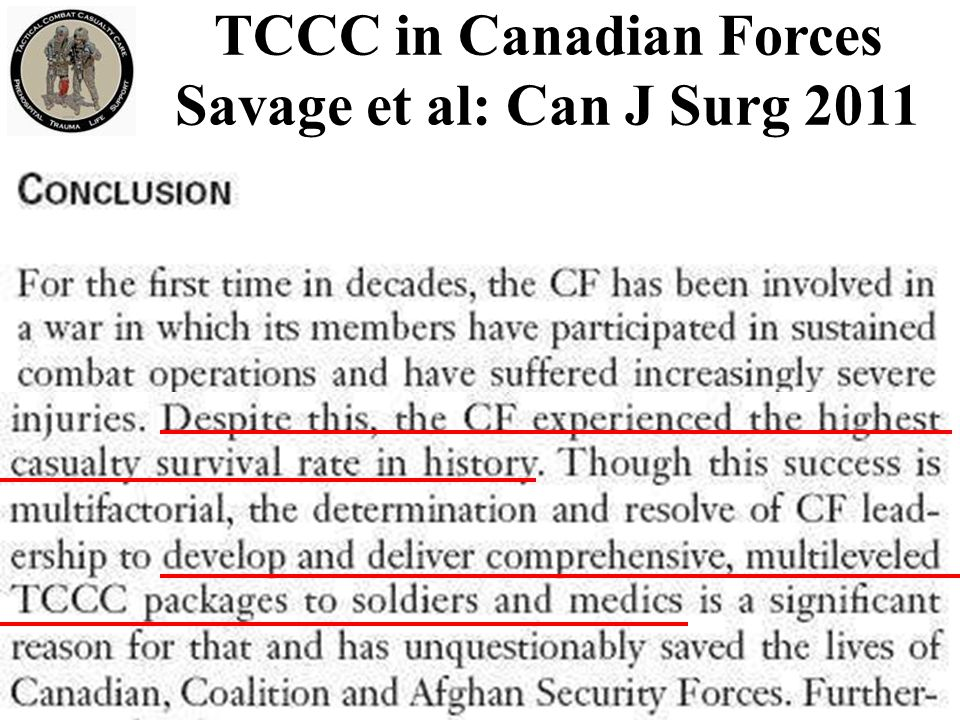 TCCC in Canadian Forces Savage et al: Can J Surg 2011