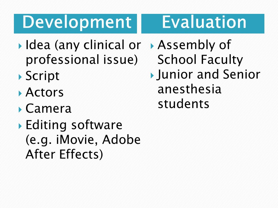 DevelopmentEvaluation  Idea (any clinical or professional issue)  Script  Actors  Camera  Editing software (e.g.