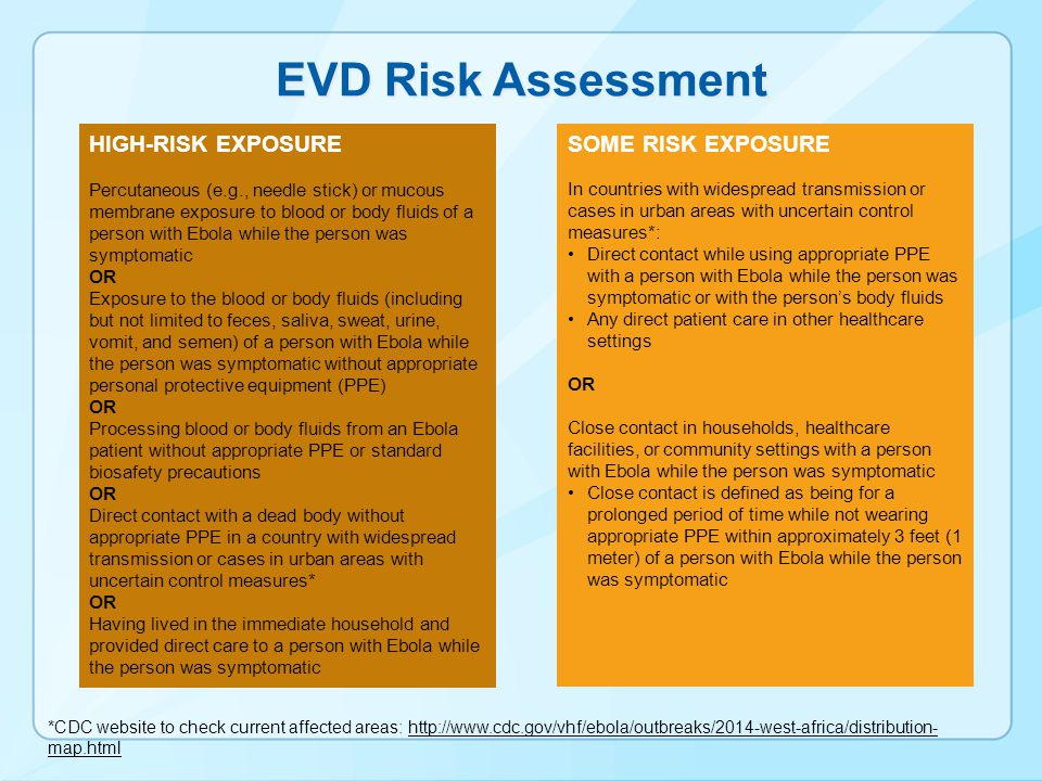 EVD Risk Assessment *CDC website to check current affected areas: http://www.cdc.gov/vhf/ebola/outbreaks/2014-west-africa/distribution- map.htmlhttp:/