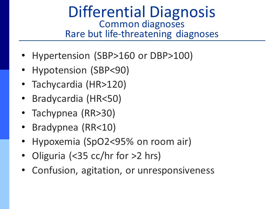 Differential Diagnosis Common diagnoses Rare but life-threatening diagnoses Hypertension (SBP>160 or DBP>100) Hypotension (SBP<90) Tachycardia (HR>120