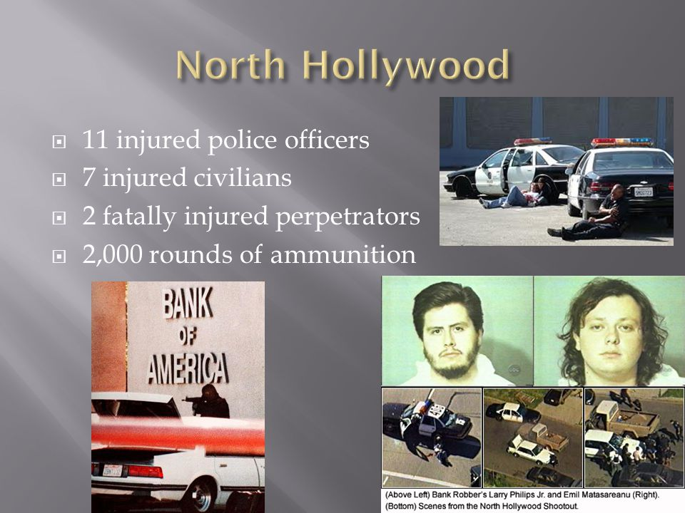  11 injured police officers  7 injured civilians  2 fatally injured perpetrators  2,000 rounds of ammunition